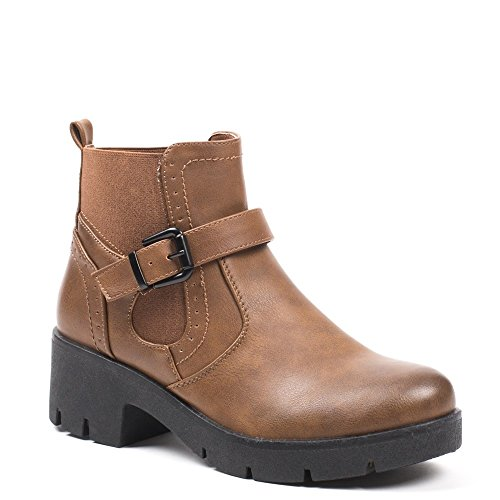 Ideal Shoes - Bottines style chelsea avec ceinturon Julienne Camel