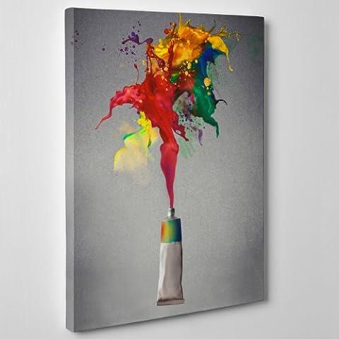 Leinwand Moderne Malerei–Abstrakt Farbe, Farben Tube Öl–Stil Damien Hirst Pollock–(Cod. 106), Dicke: 4 cm (Galerie), Size: 40x60 (Lichtenstein Moderne Malerei)