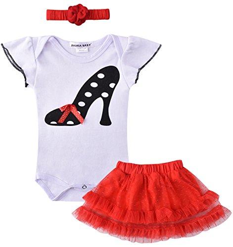 ZOEREA 3 pezzo Bambina che coprono insieme attrezzatura Body & Gonna & Fascia per capelli delle neonate del vestito dal tutu bambino Vestitini per il Battesimo Matrimonio (6-9 mesi)