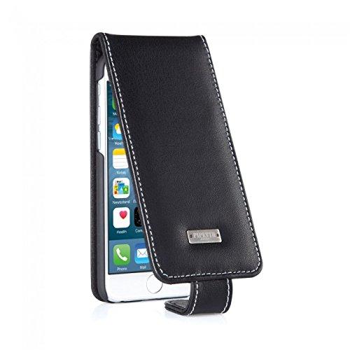 Pipetto iPhone 6 / iPhone 6S Hülle, Apple iPhone 6 / iPhone 6S Plus Hülle Leder Folio Brieftaschen Cover 12 cm schlank + Kartenhalter (Braun) Schwarz