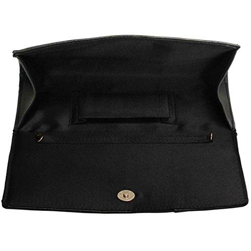 Xardi London-Fede nuziale da donna, in pelle sintetica, per damigella d'onore, tacco basso, donna Nero (nero)