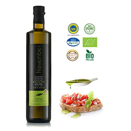 November Organic Olive Oil Extra Virgin - Exceptional Taste and Aroma (BIO Greece - Cold Pressed - Greek - Crete - PGI Chania) (750 ml)