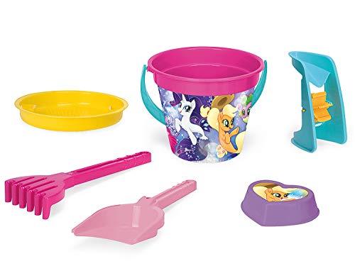 Wader 76237 My Little Pony - Juego de Cubos con escurridor, Pala, rastrillo y Molde de Arena (6 Piezas)