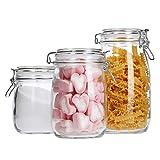 MamboCat 3 Keksdosen Irina | 0.7L + 1L + 1.5L | runde Vorrats-Gläser mit Drahtbügelverschluss | Glas-Behälter | luftdichte Aufbewahrung | Küchen-Zubehör