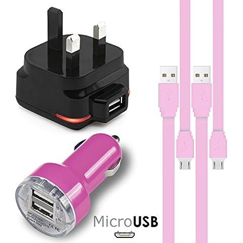 Rosa MicroUSB Multi Charger Pack 4 Stück 1 x 1000 mAh 3 Pin UK Netzstecker 2 x FLAT 1.1 Meter USB 2.0 Ladekabel 1 x Dual Port USB 2.1 / 1 Amp Auto Ladegerät Adapter für Samsung R570 Messager III