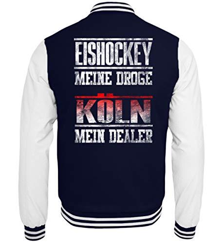 Coole Männer Köln (Shirtee Eishockey Meine Droge - Köln Mein Dealer Rot Fans Fan Stadion Halle Geschenk Ultra - College Sweatjacke -XXL-Dunkelblau-Weiss)