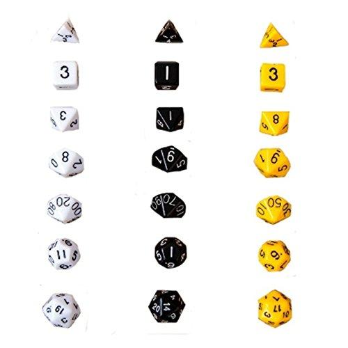 Preisvergleich Produktbild Kreative Multi-facettierte Würfel Bunte DND Würfel Tisch Spiele Schwarz Weiß Gelb (3 Sets 7pcs / set)