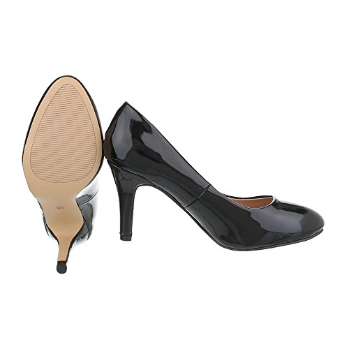femme Design chaussures Ital Noir compensées Hxt6OwqO