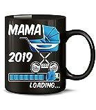 Golebros Geschenk für werdende - Mama 2019 Loading 6222 Schwangerschaft Geburt Baby Junge Babyparty Tasse Becher Kaffeetasse Geschirr deko Schwarz AD Blau