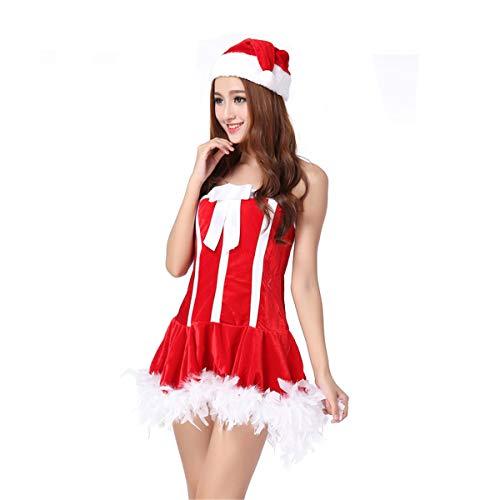 MAIMOMO Erotische Kostüme Für Damen Reizvolle Wäsche Weihnachtsrolle, Die Den Weiblichen Erwachsenen Erwachsenen Weihnachtsmann Der Uniformen Versuchung Nachtklub Spielt, Rot, Eine Größe