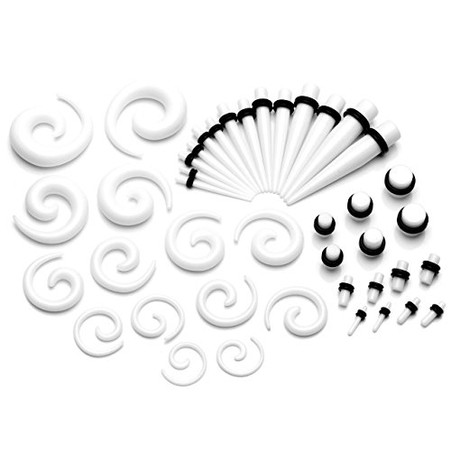 PiercingJ-21 Pairs, Acrylic, Nails-Clamping Buckle Helical Tunnel Helix Spiral Plug-Dilator Spider Flesh 2 mm-10 mm