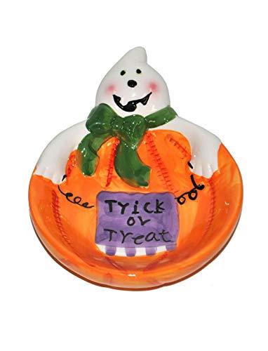 Luxuspiraten - Halloween Dekoration, Deko Süßigkeiten Teller mit Geist Süßes oder Saures, Candy Plate Trick or Treatideal für Jede Halloween Party / Feier, Orange