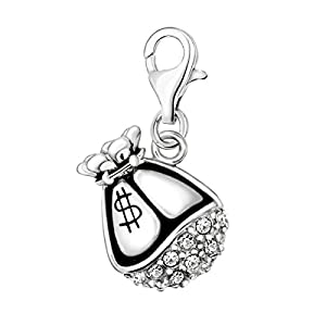 Quiges Charm Anhänger Weiß Zirkonia 3D Dollar Geld Tasche 925 Silber mit Karabinerverschluss für Bettelarmband