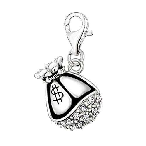 er Weiß Zirkonia 3D Dollar Geld Tasche 925 Silber mit Karabinerverschluss für Bettelarmband ()