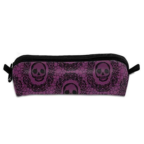 (Skull Lace Wine Pencil Pouch Bag Stationery Pen Case Makeup Box with Zipper Closure 21 X 5.5 X 5 cm)