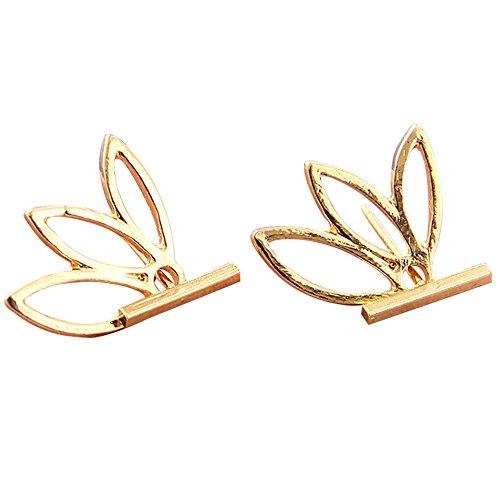 Damen Ohrstecker Lotusblüte Ohrringe Vergoldet Titan Stahl Ear Jacket Cuff Ohrklemmen (Gold)