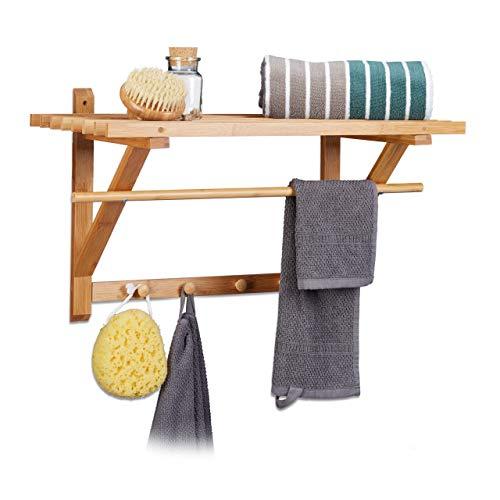 Bambus-wand-handtuchhalter (Relaxdays Wandgarderobe Bambus, Hutablage und Kleiderstange, Handtuchhalter mit Hakenleiste HBT 35 x 60 x 30 cm, natur)