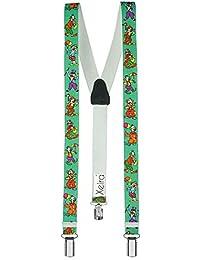 Hochwertige Hosenträger für Kinder von Xeira® - Made in Germany / Baumeister / Uni Farben / Police / Dinosaurier / Space Runner / Hündchen / Edelweiß / Retro / Elefant / Glitzer / Pirat