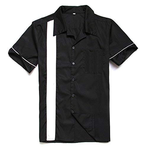 Anchor MSJ Herren 50S Männlich Kleidung Rockabilly-Art-beiläufige Baumwollbluse Fifties Bowling-Kleid Shirts groß Schwarz