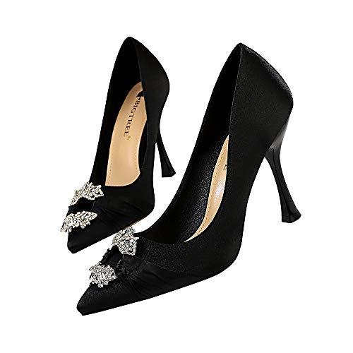 FLYSXP Strass Frauen High Heel Satin Metallschnalle Aufbewahrungsschieber in Mode Elegante Bankett Hochzeit Pumpe 10 cm Damenschuhe (Color : Black, Size : 38) Moda Satin-heels