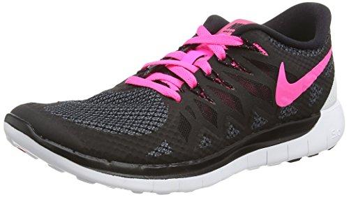 Nike Free 5.0, Damen Laufschuhe, Schwarz (Black/Pink Pow/White), 38 EU
