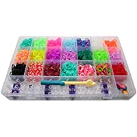 Kit Manualidades Loom para Hacer Pulseras de Silicona. 4200 Gomas en 21 Colores y Accesorios.