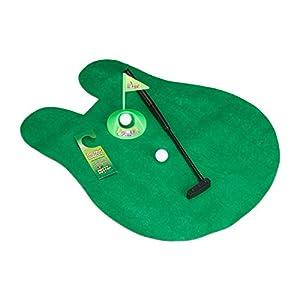 Relaxdays WC Golf Set, 6 teilig, Klogolf, Golfmatte mit Putter, 2 Bällen, Golfloch & Türschild, Minigolf Toilette, grün