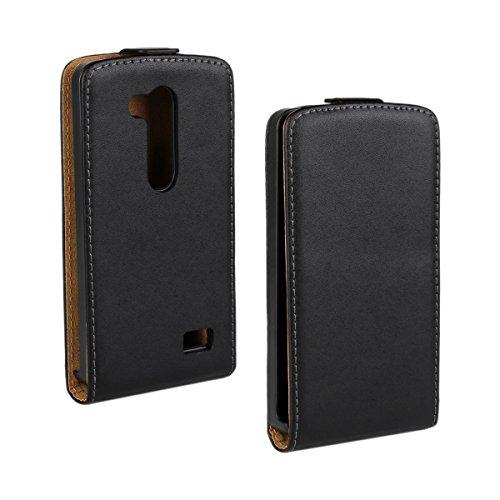 MOONCASE LG L Fino Hülle Prämie PU Leder Schutzhülle für LG L Fino (D290N / D295) Flip Cover Etui Tasche Case Schwarz
