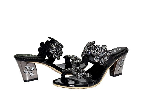 unicoratha femmes robe de soirée talons bloc glisse sur votre strass noir Chaussures Sandales Noir - noir