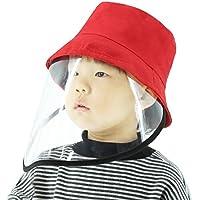 Retteec Sombreros faciales de protección, Tapa Protectora Anti-Salpicaduras de Saliva Anti-Escupir niños Pescador Sombrero con la Careta de protección extraíble (Color : Red)