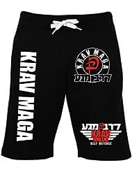 Krav Maga Short–2–Pantalones de chándal de entrenamiento pantalones de combate–Pantalones de deporte, color negro, tamaño medium
