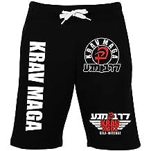 Krav Maga Short–2–Pantalones de chándal de entrenamiento pantalones de combate–Pantalones de deporte, color negro, tamaño large