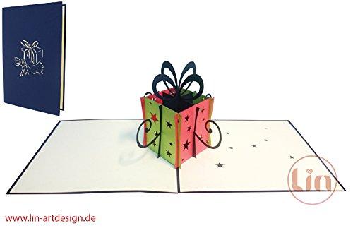 Lin de Pop up 3D Cartes de vœux cadeau, cartes de vœux Anniversaire Cartes cartes cadeaux Shopping, boîte cadeau
