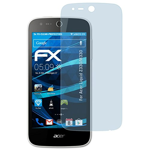 atFolix Schutzfolie kompatibel mit Acer Liquid Z330/M330 Folie, ultraklare FX Bildschirmschutzfolie (3X)