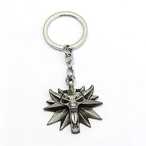 TUDUDU The Witcher 3 Medallion Wild Hunt Keychain Wolf Antique Silver Key Ring Holder Fashion Car Bag Chaveiro Key Chain
