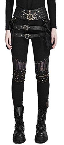 Pantaloni Nero Donna Gotico Punk ginocchio accessoirisés Punk Rave nero Medium