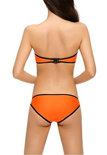 Brinny Damen Push-Up Bademode Bikini Set Flirt Bandeau Tops Itsy Bottom Zipper Badeanzug Orange