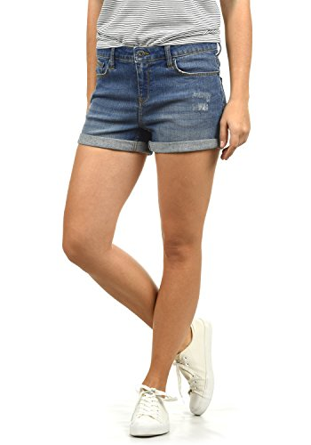 BlendShe Andreja Damen Jeans Shorts Kurze Denim Hose Mit Destroyed-Optik Aus Stretch-Material Skinny Fit, Größe:XL, Farbe:Medium Blue Washed (29052)