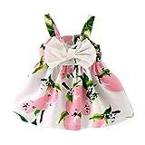 K-youth® Vestido de Niña Floral Bowknot Vestido de la honda Princesa Vestido Bautizo Bebé Niñas Vestidos de Sin Manga Primavera Verano Ropa para 0-24 meses (Rosa, 6-12 meses)