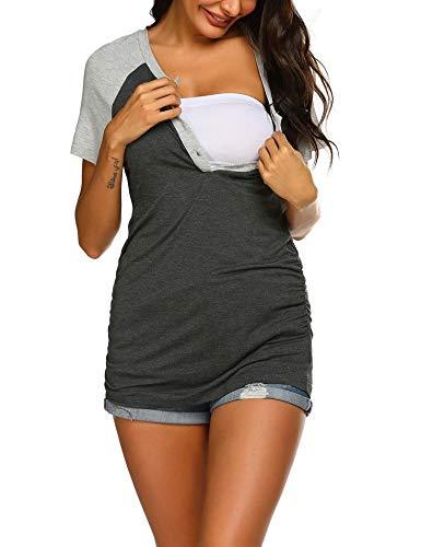 Umstandsshirt Damen Stilltop Umstandsmode Schwanger Bluse Stillpyjama Maternity Shirt -XL