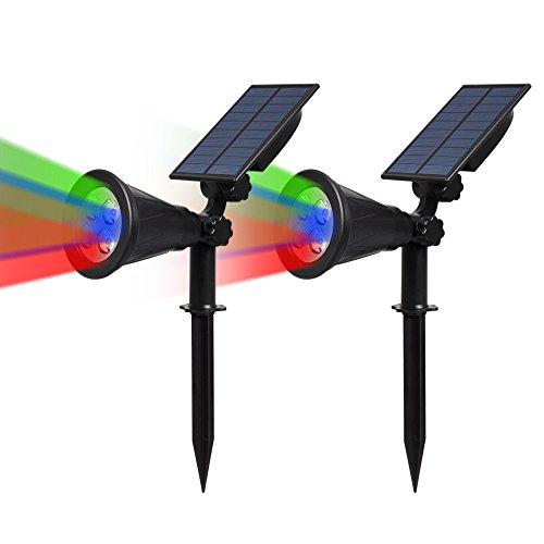 2 Stück T-SUN LED Solarleuchten, 2-in-1 Wasserdicht Drahtlos Gartenleuchten, 4 Farbwechsel Outdoor Wandleuchte, 2 Beleuchtungsmodi, Auto-on/off, Sicherheitsbeleuchtung für Hof, Rasen, Wege.