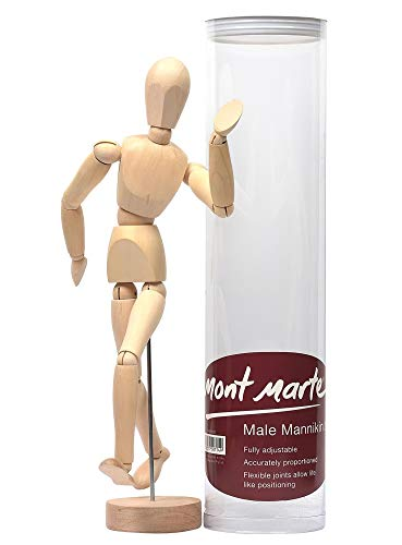 Mont Marte Gliederpuppe - Modellpuppe, Holzpuppe, Biegepuppe, Mannequin 30cm männlich aus Holz