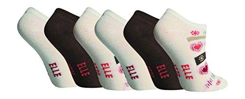 Elle - Mädchen 6 Paar Unsichtbar Quarter Kurzsocken Sneaker Socken in 5 Farben (27-31 / 4-6 Jahre, Creme)