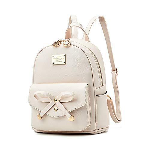 Mini Babala Damen Rucksack, Frauen Mädchen Mode Rucksack Handtasche Schultertasche Schuleinkaufstasche Crossbody Frau Geschenke, 08Weiss (Mädchen Rucksack)