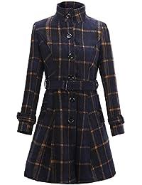 Blansdi femme manteau veste parka longue classique élégante vintage chaud  moulante en mélange de laine avec Ceinture- quatre… e06f9653b3a
