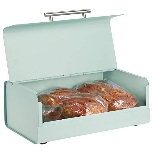 mDesign boîte à pain en métal - huche à pain élégante et vintage - boîte à pain avec couvercle pour produits de boulangerie - vert menth
