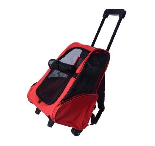PawHut D1-0012 Hunde Transporttasche Trolley, rot