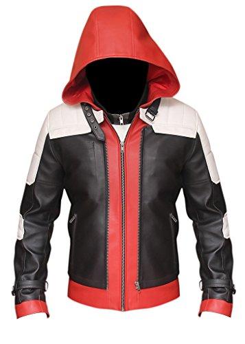 Jason Todd Rosso con cappuccio Batman Arkham Knight Giacca in similpelle Red,Black, White Large