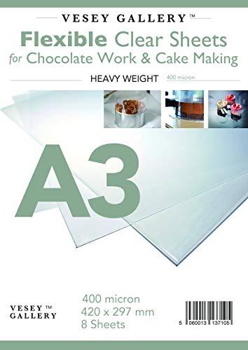 Vesey Gallery A3de Acetato Flexible para Chocolate Tarta de Trabajo y Hacer. 8Hojas 400Micron