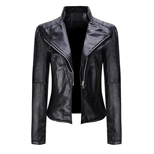 ESAILQ Femmes Hiver Chaud Manteau Court en Cuir Veste Parka Zipper Hauts Pardessus Outwear (Noir, XL)
